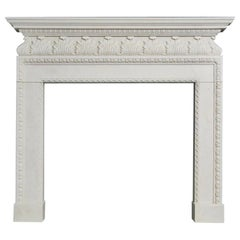 19th Century Palladian Style Carved Statuary Marble Fireplace Surround