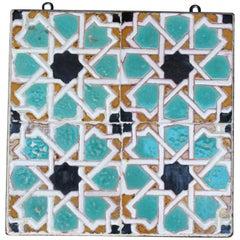 19th Century Panel of Four Glazed Ceramic Nazari Style Tiles