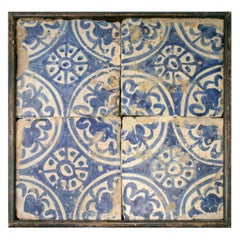 19th Century Panel with Four Spanish Glazed Manises Blue Cobalt Painted Tiles