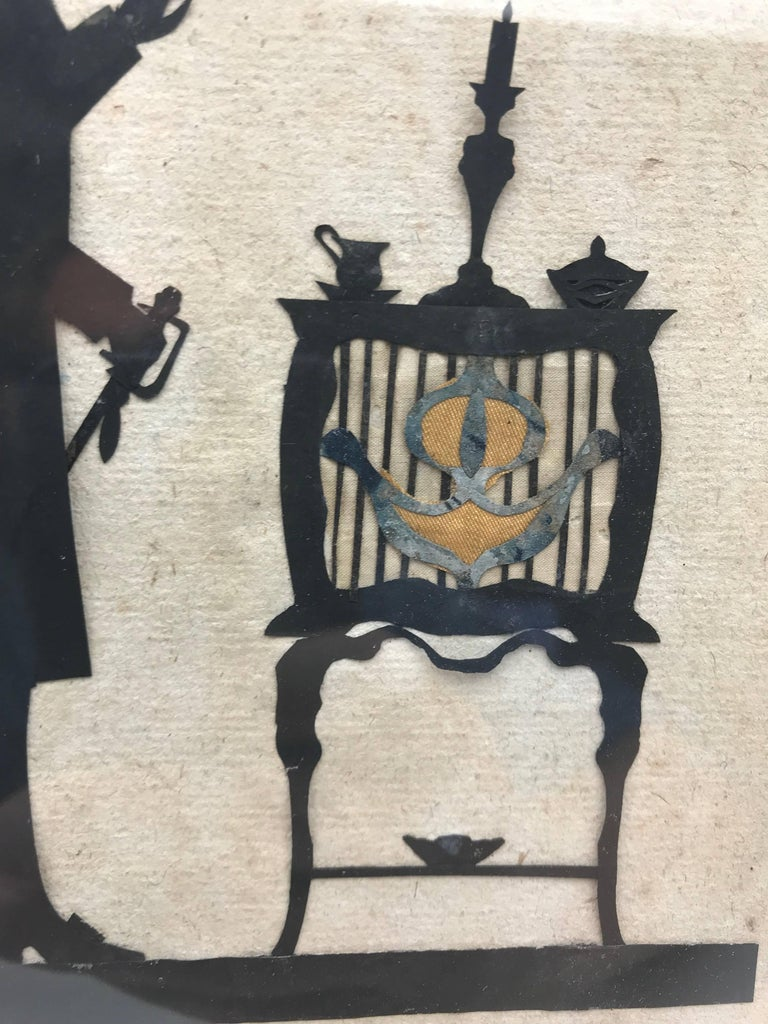 19th Century Paper Cut Silhouette of Gentleman in Front of a Table In Good Condition For Sale In New York, NY