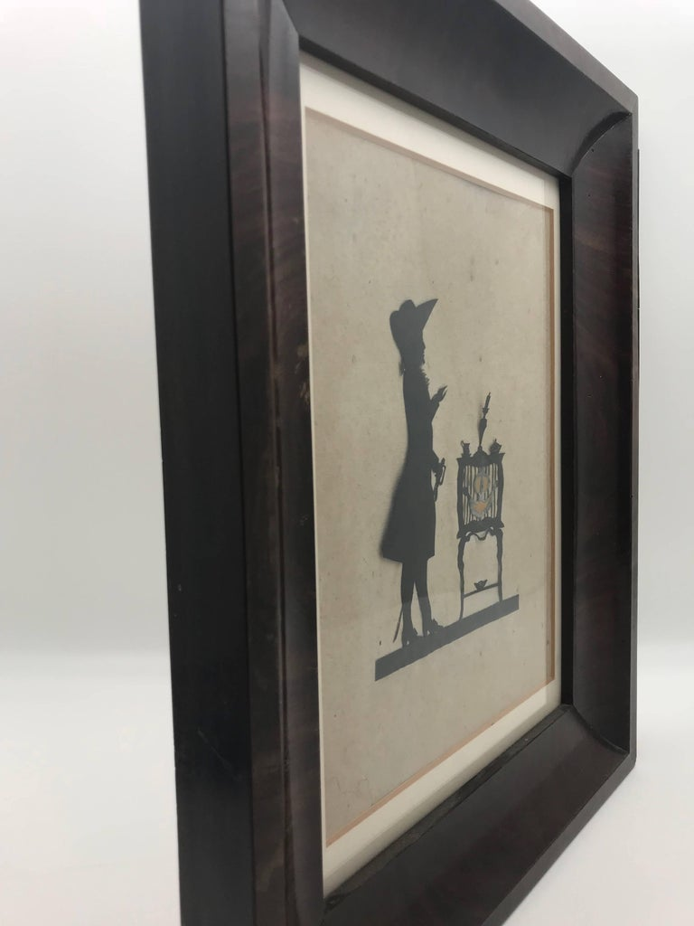 19th Century Paper Cut Silhouette of Gentleman in Front of a Table For Sale 1