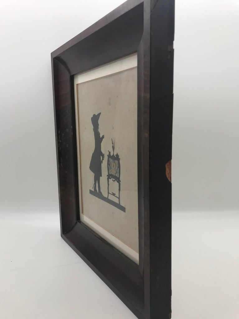 19th Century Paper Cut Silhouette of Gentleman in Front of a Table For Sale 2