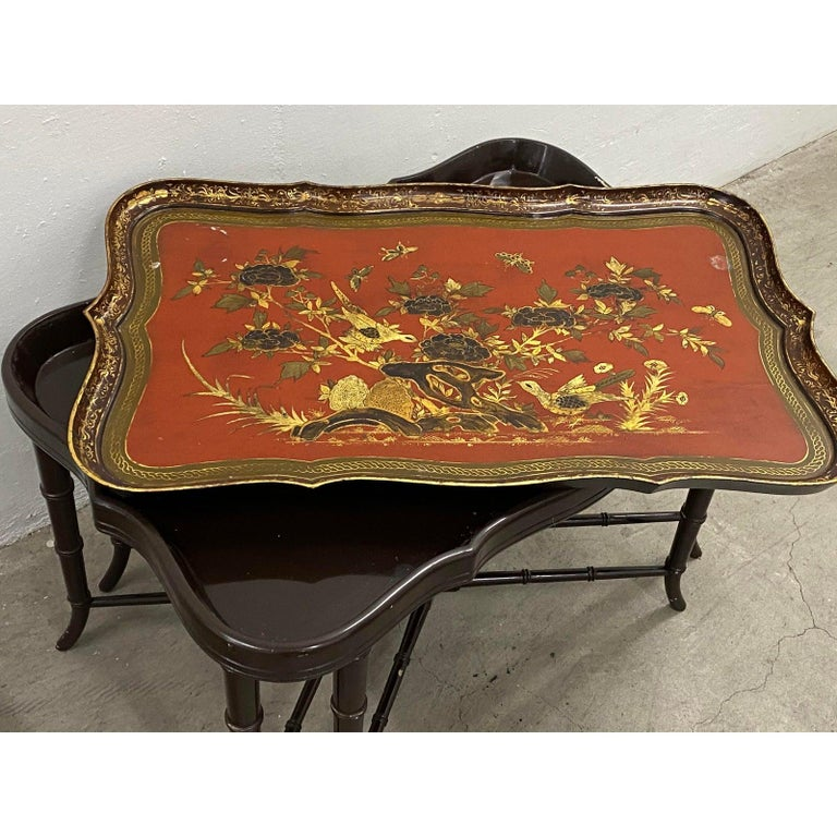 19th century papier mâché English chinoiserie tray table  Beautiful antique tray table with removable tray on a custom black lacquered Stand.  Dimensions 35