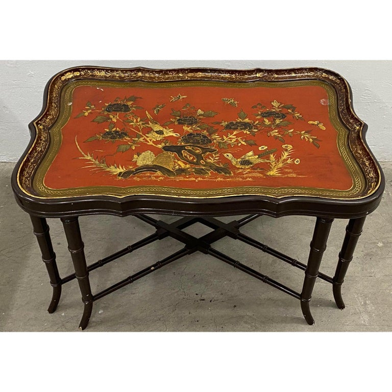 19th Century Papier Mâché English Chinoiserie Tray Table In Good Condition In San Francisco, CA