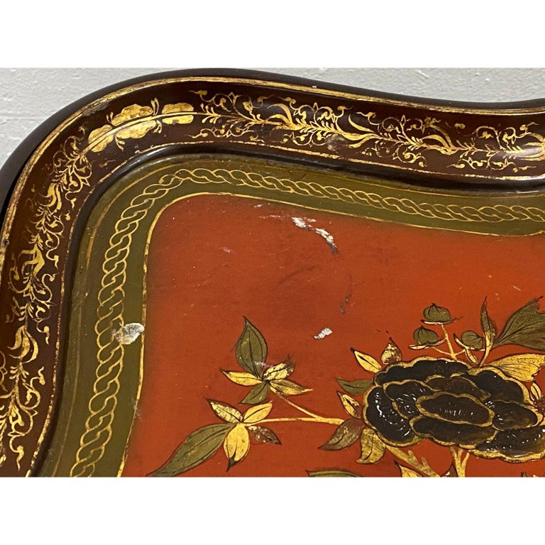 19th Century Papier Mâché English Chinoiserie Tray Table 2