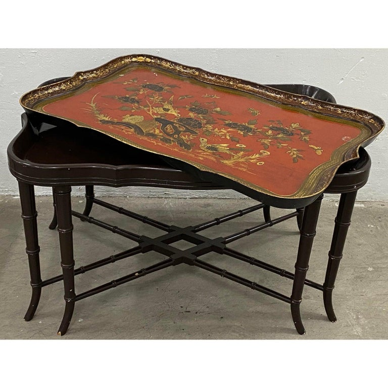 19th Century Papier Mâché English Chinoiserie Tray Table 3