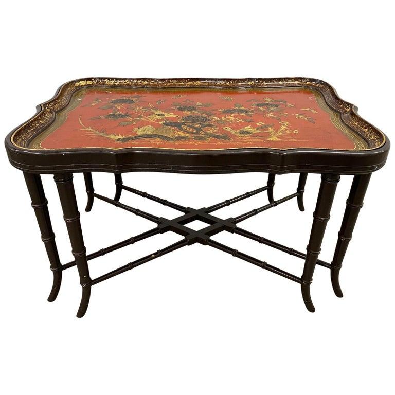 19th Century Papier Mâché English Chinoiserie Tray Table