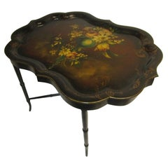 19th Century Papier Mâché Scalloped Tray Table on Faux Bamboo Base