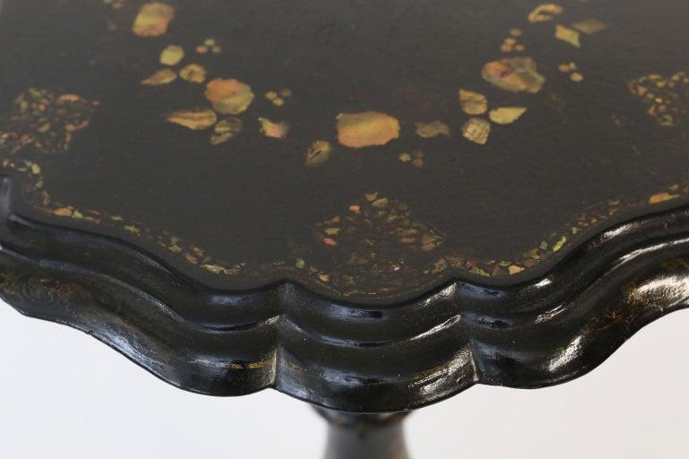 Victorian 19th Century Ebonized Papier Mâché Table
