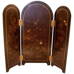 19th century Papier Mache Table Top Hinged Screen Butterfly and Bird Motif