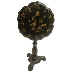 19th Century Papier-Mâché Tilt-Top Table with Inlaid Mother of Pearl