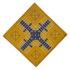 "Yellow and Blue ""Snowflake"" Parcheesi Gameboard, Circa 1875"