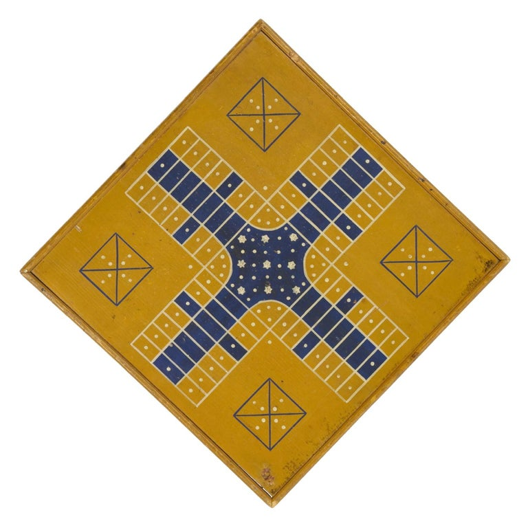 "Yellow and Blue ""Snowflake"" Parcheesi Gameboard, Circa 1875 For Sale"