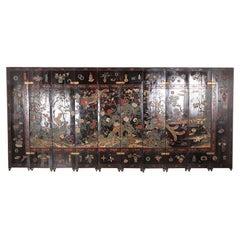 19th Century Parisian 10 Panel Coromandel Lacquer Chinoiserie Screen C.1860