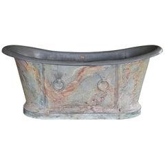 19th Century Parisian Faux Marble Painted Zinc Bathtub