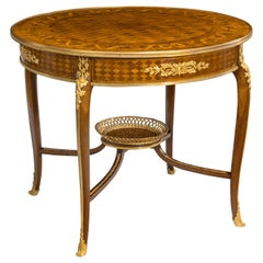 19th Century Parquetry Centre Table in the Louis XVI Manner by François Linke