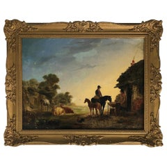 19th Century Pastoral Landscape Oil Painting, Horses and Cows