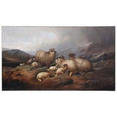 "19th Century Pastoral Painting: ""Highland Sheep"""
