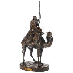 19th Century Patinated Bronze Orientalist Sculpture Arab Warrior on a Camel