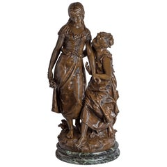 19th Century Patinated Bronze Sculpture of Two Beauties by Hippolyte Moreau
