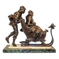 19th Century Patinated Bronze Sculpture on a Sled by Charles Ferville-Suan