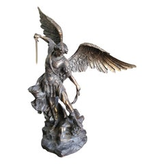 19th Century Patinated Bronze Sculpture St. Michael Archagel
