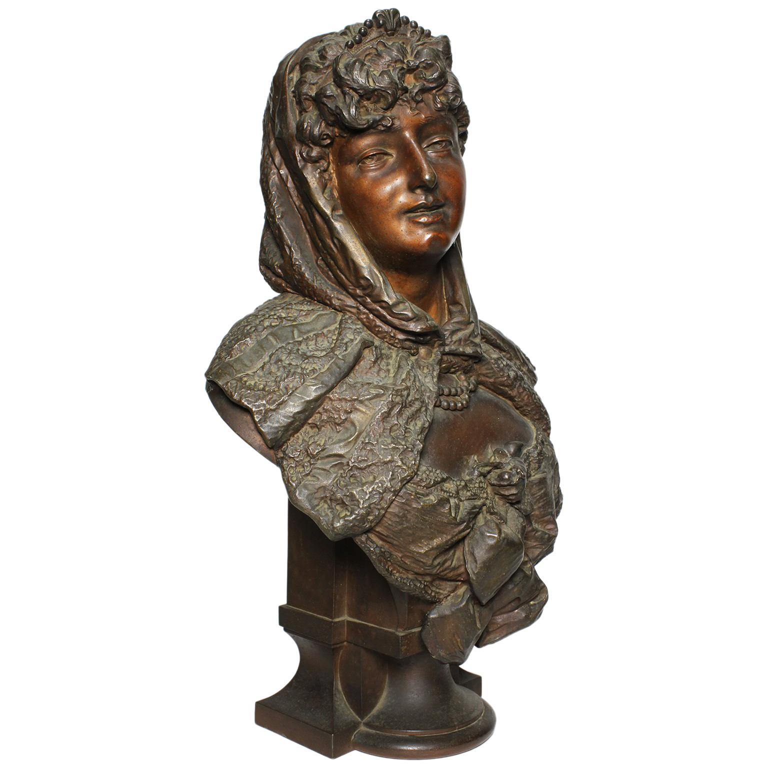 19th Century Patinated Spelter Bust Figure of a Young Girl, Attributed to Hottot