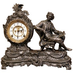 19th Century Patinated Spelter Mantel Clock Statue by Ansonia Clock Company