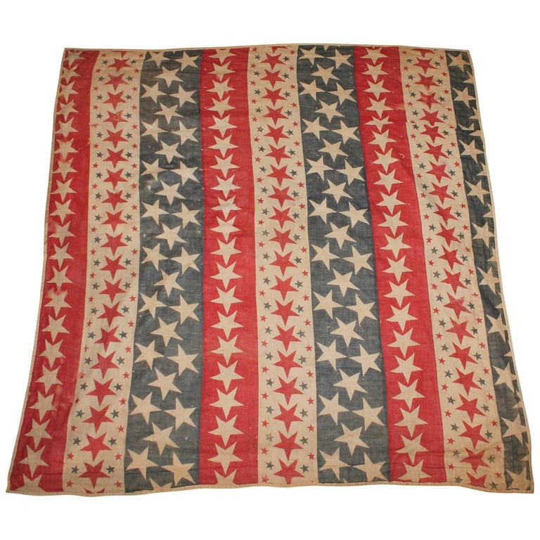 19th Century Patriotic Bunting Stars Tied Quilt Dated 1898 For Sale