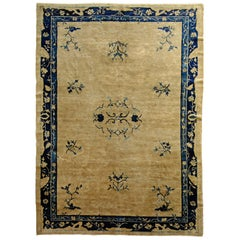 19th Century Peking Hand-Knotted White and Blu Luxury Decoration Rug