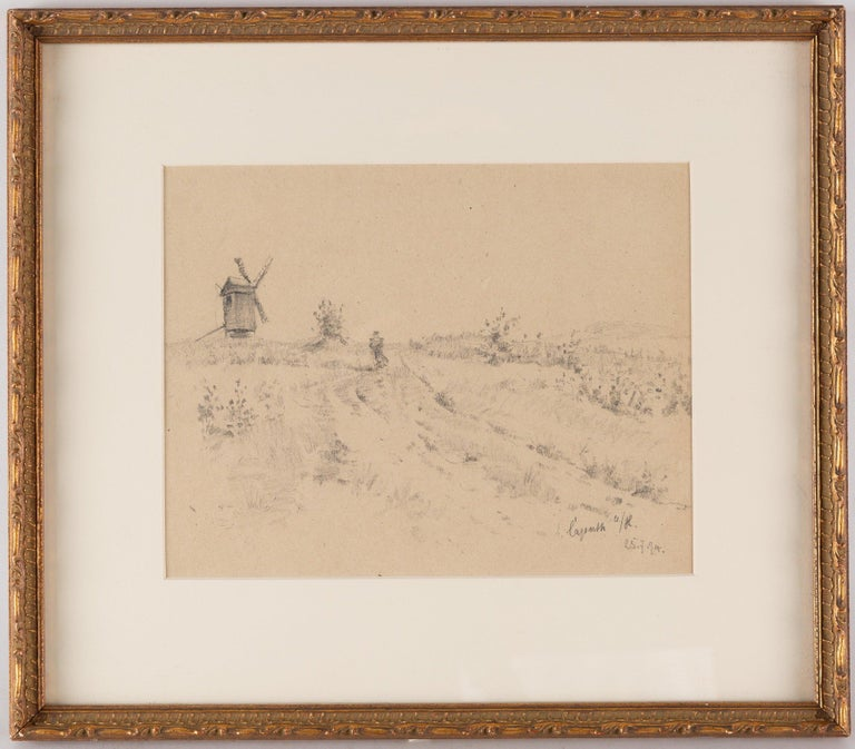 French 19th Century Pencil Drawing of a Figure on a Path with a Windmill Beyond For Sale