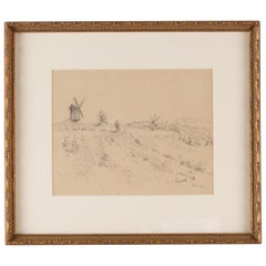 19th Century Pencil Drawing of a Figure on a Path with a Windmill Beyond