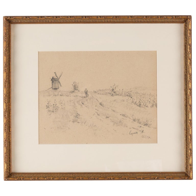 19th Century Pencil Drawing of a Figure on a Path with a Windmill Beyond For Sale