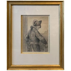 19th Century Pencil Drawing of French Soldier, Unsigned