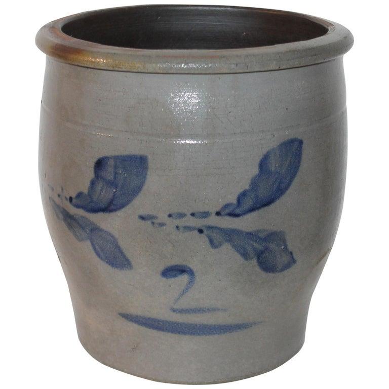 19th Century Pennsylvania Decorated Stone Ware Crock For Sale