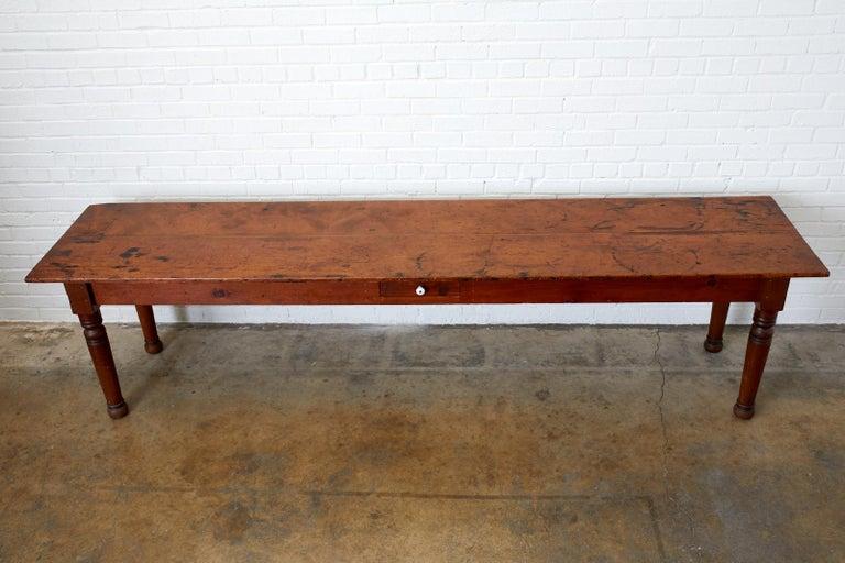 Hand-Crafted 19th Century Pennsylvania Dutch Farmhouse Harvest Table For Sale