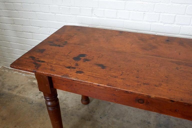 Porcelain 19th Century Pennsylvania Dutch Farmhouse Harvest Table For Sale