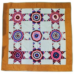 19th Century Pennsylvania Touching Stars Mennonite Quilt