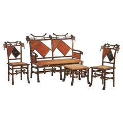 19th Century Perret et Vibert, Lounge Furniture with Noh Masks