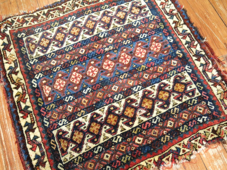 19th Century Persian Bagface Textile Rug In Distressed Condition For Sale In New York, NY