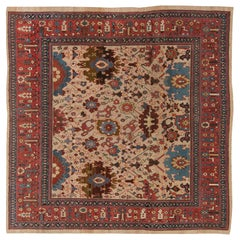 19th Century Persian Bakshaish Red, Blue, Brown & Beige Wool Rug 'Size Adjusted'