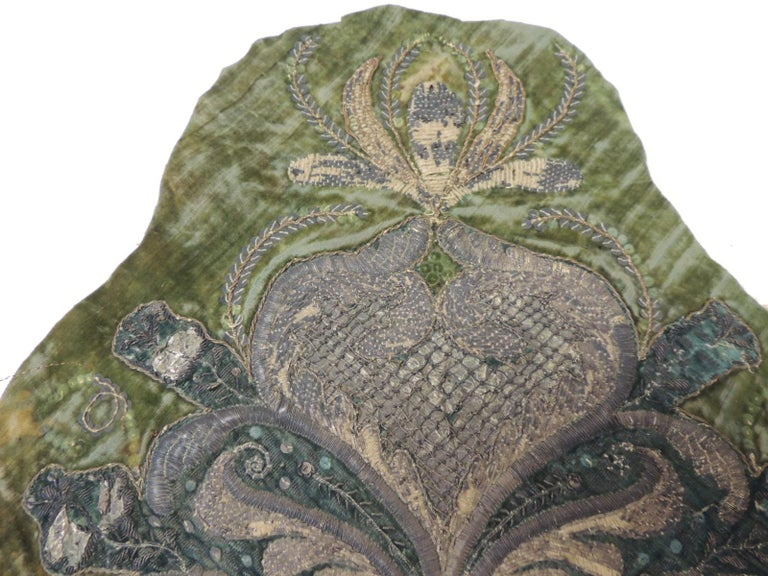 19th Century Persian Embroidered Flower On Silk Textile At