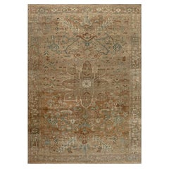 19th Century Persian Heriz Brown, Soft Blue and Ivory Handwoven Wool Rug