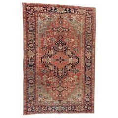 Antique 1920s Persian Heriz Wool Rug