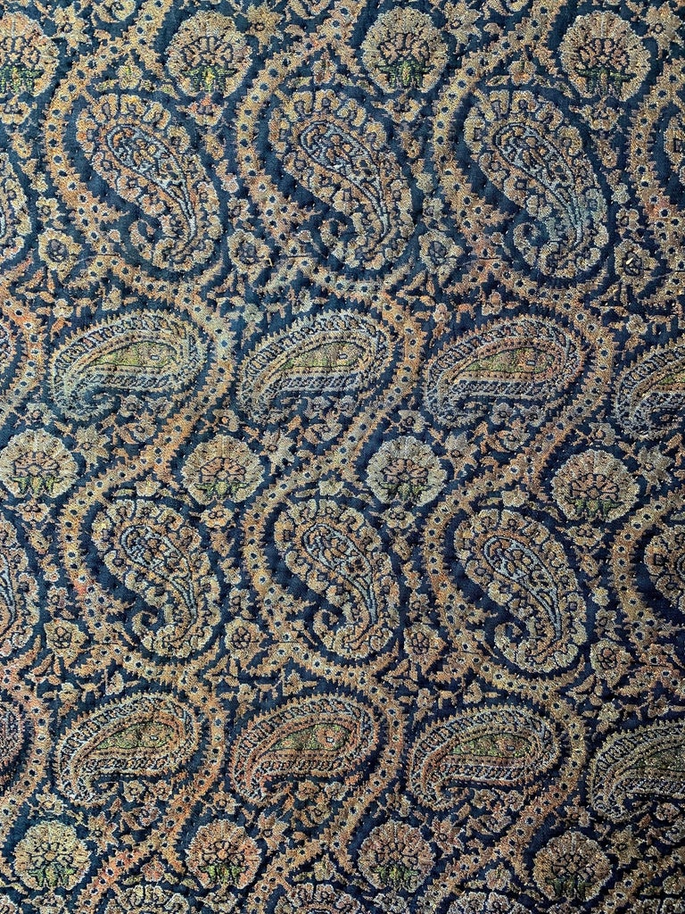 19th Century Persian Jacquard Paisley Quilted Textile In Fair Condition For Sale In New York, NY