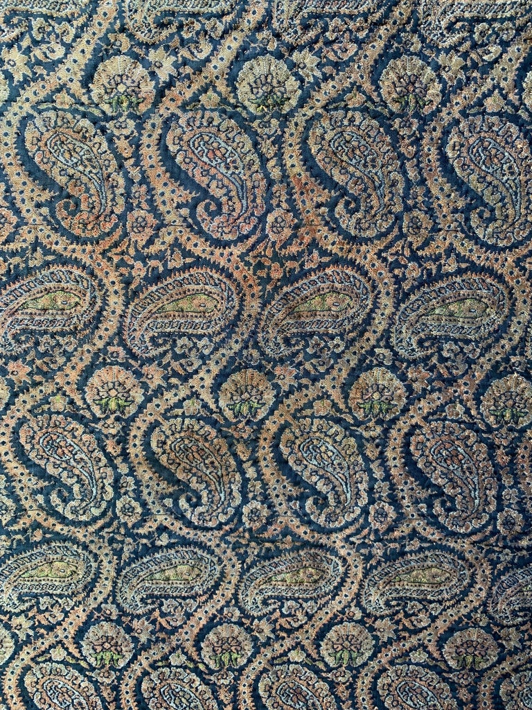 Cotton 19th Century Persian Jacquard Paisley Quilted Textile For Sale