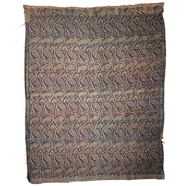 19th Century Persian Jacquard Paisley Quilted Textile For Sale