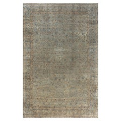 19th Century Persian Kirman Blue Handwoven Wool Carpet
