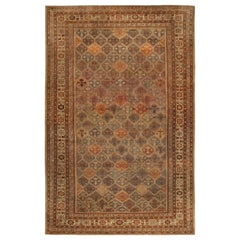 19th Century Persian Malayer Orange, Rust, Brown and Cool Blue-Grey Wool Runner