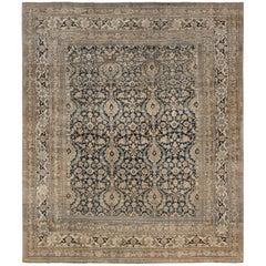 19th Century Persian Meshad Botanic Handwoven Wool Rug